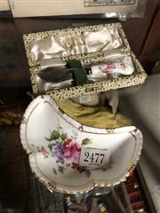 Sale 8819 - Lot 2477 - A Crown Derby Butter Dish (Repaired) Together with Matching Knife