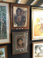 Sale 8856 - Lot 2080 - 2 Works: Maitree, Mother & Child, painted on Leaves; Jan Naylor, Äruma, Pastel, 28x19.5cm