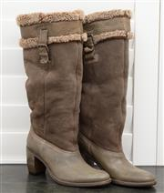 Sale 8902H - Lot 144 - A pair of German fur lined olive green suede and leather knee high boots, size 37