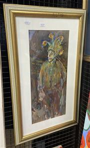 Sale 9011 - Lot 2010 - R. Roft?  The Joker pastel and watercolour on paper, 41x68cm (frame) -
