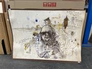 Sale 9028 - Lot 2025 - John Olsen (1928 - ) - Drysdale & the Desert 75.5 x 106.5 cm
