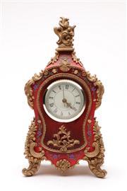 Sale 9070 - Lot 47 - Ornate Painted & Gilt Mantle Clock With Floral Motifs (H32cm)