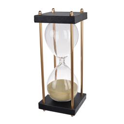 Sale 9140F - Lot 25 - A 30 minute hourglass crafted with a black and tan stand. Dimensions: W9.5 x D9.5 x H25.5 cm
