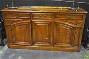 Sale 8284 - Lot 1006 - Oversized Cherrywood Sideboard w Drawers Above Double Hinged Panel Doors