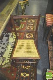 Sale 8371 - Lot 1066 - Pair of Timber Framed Chairs with Rattan Seats