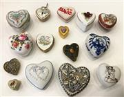 Sale 8436A - Lot 7 - A group of porcelain and metal ware heart shaped pill boxes including Delft and Royal Windsor. (15)