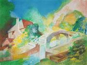 Sale 8519 - Lot 543 - Vincent Brown (1901 - 2001) - Canal Bridge, Warwick 55 x 74.5cm