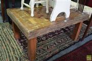 Sale 8542 - Lot 1091 - Timber Coffee Table with Chess Board Top