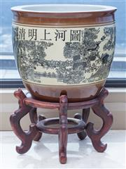 Sale 8593A - Lot 75 - An oriental jardiniere on stand depicting town scape, on stand, total H is 51cm, H of jardinière is 31cm