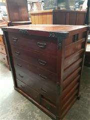Sale 8868 - Lot 1149 - Japanese Pine Tansu Chest, with an asymmetrical arrangement of seven drawers & iron mounts