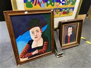 Sale 8878 - Lot 2069 - Les Warner, Two Works Lady with a Green Hat and Man with Red Ears, oil and pastel on board, 58 x 36 and 42 x 37 cm