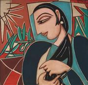Sale 8916 - Lot 562 - George Keyt (1901 - 1993) - Solitude, 1990 77 x 77 cm
