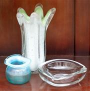 Sale 9058H - Lot 95 - Three pieces of interesting studio glass incuding a vase, small jar and ashtray in various colour ways. Height of vase 23cm