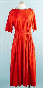 Sale 9071F - Lot 20 - A COS 3/4 SLEEVE BELTED DRESS; in bright orange with round neck and tie up waist belt, size M