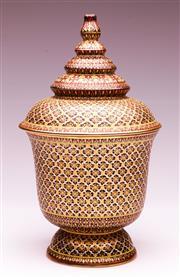 Sale 9081 - Lot 12 - A Dutch Finely Handpainted Lidded Ceramic Urn (H:31.5cm)