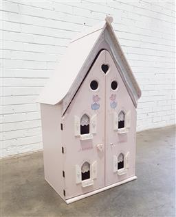 Sale 9108 - Lot 1013 - Painted timber dolls house (h117 x w63 x d41cm)