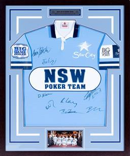 Sale 9130S - Lot 87 - NSW 2010 Poker Team signed Jersey Frame Size 104cm x 87cm