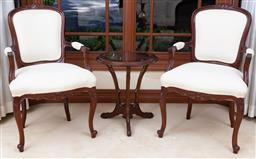 Sale 9155H - Lot 1 - A pair of carved Louis XV style carvers with cream fabric upholstery, Height of back 98cm, Purchased at Buckleys Aug 1999
