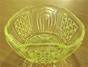 Sale 8319 - Lot 415 - Australian made citron glass bowl, uranium glass, lights up dramatically with artificial light. circa 1900