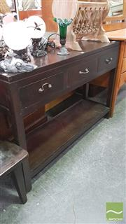 Sale 8404 - Lot 1051 - Tiered Timber Hall Table with Three Drawers