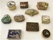 Sale 8436A - Lot 47 - A group of Oriental enamelled and cloisonne pill boxes. (10)