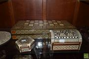 Sale 8509 - Lot 2338 - Inlaid Games Board, & Trinket Boxes