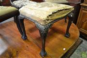 Sale 8520 - Lot 1051 - George II Style Carved Footstool with Ribbon Carved Knees and Ball & Claw Feet.