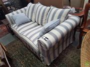 Sale 8593 - Lot 1084 - Blue & Cream Striped Upholstered Two Seater Sofa