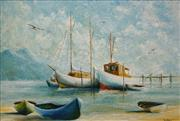 Sale 8633 - Lot 539 - John Pointon (1936 - ) - Untitled, 1968 (Moored Boats) 49.5 x 75cm