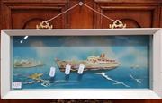 Sale 8822 - Lot 1155 - Framed Shell Artwork of a Ship