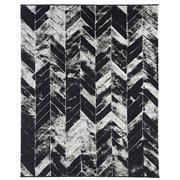 Sale 8913H - Lot 58 - Turkish Woven Chevron Design Carpet in Black/Silver/Ivory, 240x300cm, Wool & Bamboo Silk