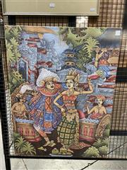 Sale 8941 - Lot 2044 - A Balinese Painting depicting a Ceremonial Dance, 85 x 65 cm