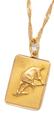 Sale 9046 - Lot 304 - A 22CT GOLD PENDANT NECKLACE; 13 x 18.5mm plaque featuring Chinese year of the dog, on twisted flat curb chain with scroll clasp, le...