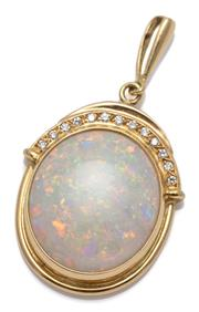 Sale 9080J - Lot 52 - AN 18CT GOLD OPAL AND DIAMOND PENDANT; featuring an oval cabochon white opal of approx. 10ct, (19 x 17mm) with good colour range (so...