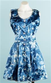 Sale 9071F - Lot 73 - A DELACRUZ BLUE COCKTAIL DRESS with large unique diamante buttons and twin pockets size 10