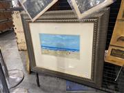 Sale 9082 - Lot 2009 - Donald Fraser, Beach Scene, oil on board, frame: 56 x 66 cm, signed lower left