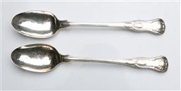 Sale 9093 - Lot 44 - Pair of Georgian Hallmarked Sterling Silver Serving Spoons, London, c.1827 (L31cm, wt. 337.5g)