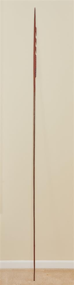 Sale 9097H - Lot 98 - A tribal spear as used by Kamahl in the 1967 Movie Journey Out of Darkness. Length of spear approx 1.5m