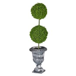 Sale 9134H - Lot 65 - A pair of two-tier faux topiaries in a traditional-style urn planter, Total Height 40cm