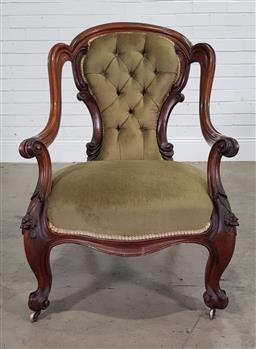 Sale 9196 - Lot 1055 - Victorian Walnut Open Tub Form Armchair, with balloon back shaped upholstered in green buttoned velvet, raise on carved cabriole leg...
