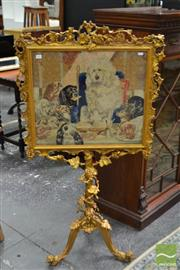 Sale 8500 - Lot 1001 - Victorian Gilt Gesso Tapestry Pole Screen, depicting a zoomorphic theme Trial By Jury (1840) after Edwin Landseer, elaborately fra...