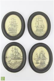 Sale 8599 - Lot 101 - Etched Oval Plaques Of Sailing Ships (H:13cm)