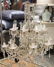 Sale 8709 - Lot 1021 - A Venetian sixteen branch crystal chandelier, height of drop approx 85cm