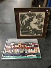 Sale 8776 - Lot 2086 - 2 Works: Atterbury, mixed media painting and a framed brass rubbing
