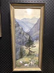 Sale 8789 - Lot 2165 - Mountain Scene, Signed Watercolour