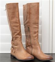 Sale 8902H - Lot 170 - A pair of knee high distressed tan leather flat boots, size 37