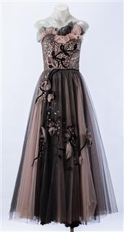 Sale 8910F - Lot 91 - A layered and embroidered tulle evening dress, approx size 6/8
