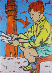 Sale 8972A - Lot 5030 - David Bromley (1960 - ) - Boy & Lighthouse 75 x 54 cm