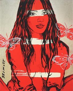 Sale 9081A - Lot 5013 - David Bromley (1960 - ) - Zippora with Red Butterflies 90 x 72 cm (frame: 111 x 91 x 3 cm)