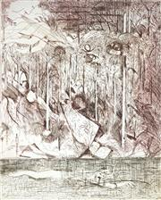 Sale 9038 - Lot 565 - Arthur Boyd (1920 - 1990) - Rockpool Spirit & Wind, Shoalhaven 65 x 52 cm (frame: 103 x 84 x 3 cm)